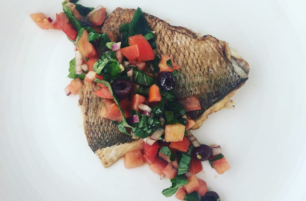 Crispy Skinned Snapper with Tomato and Basil Salsa
